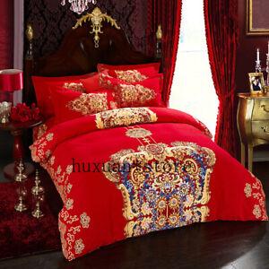 4pcs-Wedding-Bedding-Set-Duvet-Cover-Sets-Bed-Sheet-Pillowcases-Queen-King-Size