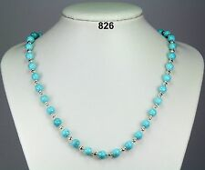 "Simple turquoise stone 8mm bead necklace, silver-plated spacers 21""+2"