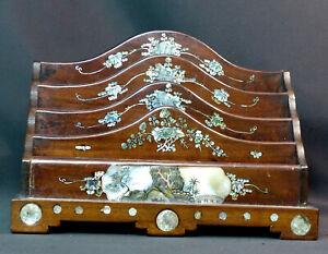 E 19ème élégant Porte-lettres Art Japon Bois Incrustation Nacre 30cm1.5kg Déco Sensation Confortable