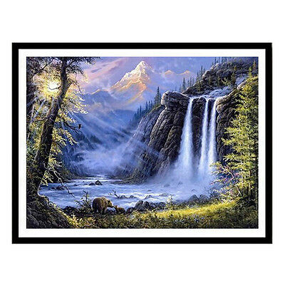 Waterfall Bear landscape Full Square Diamond Cross Stitch Oil Painting Home Deco