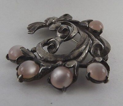 8d96d6dd4a3cc Vintage Sterling Silver Cabochon Moonstone Brooch Sweater Pin Floral ...