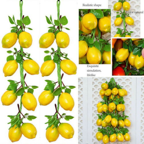 2 Strings Lemon Artificial Stem Lemon Fruit Plants Fake For Home Decor Trendy