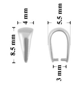 Jewellery Findings Sterling Silver Open Loop Slide Bails without Clip 8.5x4mm