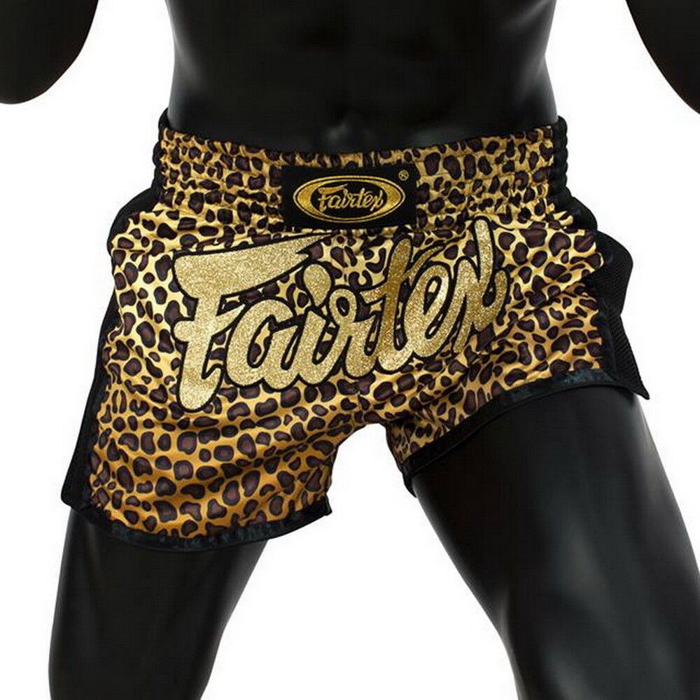 Fairtex BS1709 Leopard Better Satin Shorts Boxing  Muay Thai Slim Cut Trunks MMA  wholesale price
