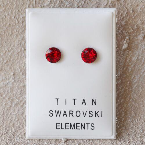 Nuevo titan pendientes 6mm Swarovski piedras light Siam//rojo aretes Titan aretes