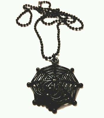 Black gothic spider necklace Web ball chain 18 inch