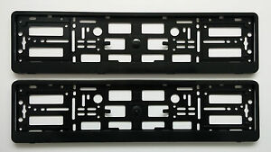 2x-Black-Number-Plate-Surrounds-Holders-Frame-Trim-For-All-Cars