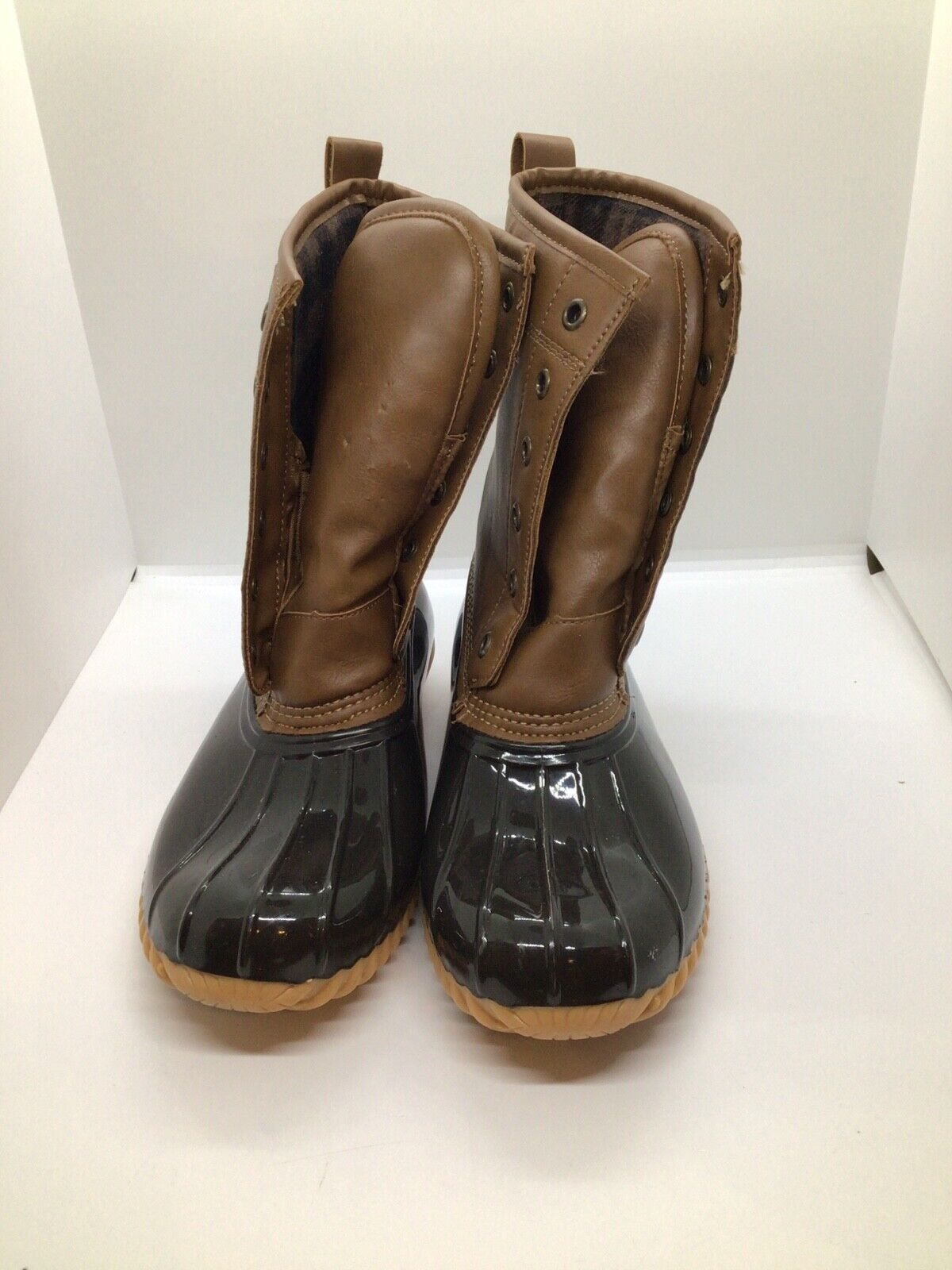 The Original Duck Boot by Sporto Ariel Lace Up Duck Rain Boots 6.5 Tan/Brown,