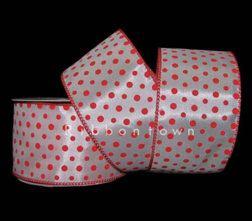 "25 Feet Orange Red Small Polka Dot Wired Ribbon 2 1//2/""W"
