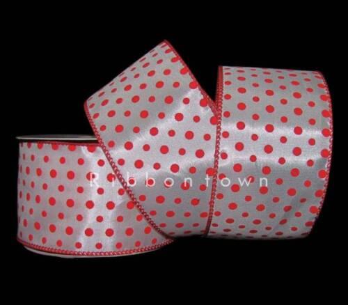 "25 Feet Orange Red Small Polka Dot Wired Ribbon 2 1//2/""W"