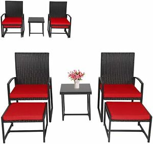 5PCS Deck Porch Rattan Chair,Wicker Furniture Set with Ottoman and Table Outdoor