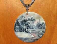 UNIQUE Hand Painted Grey Pink Shell PENDANT signed FEDOSKINO Forrest by River