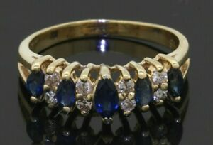 Heavy-14K-gold-59CTW-diamond-Marquise-Blue-sapphire-apex-cocktail-ring-size-7