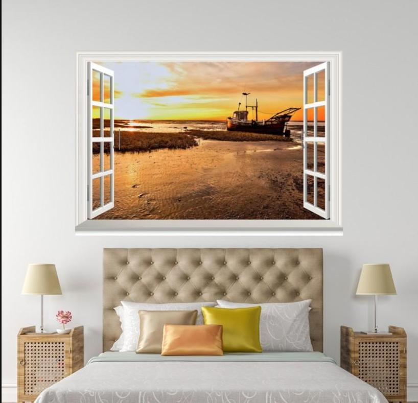 3D Sunset Ship 564 Open Windows WallPaper Murals Wall Print Decal Deco AJ Summer