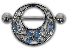 Brustwarzenpiercing FLOWER AND BUTTERFLY blau aus Chirurgenstahl Nipple Shield