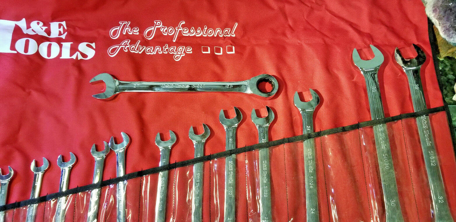 T&E  13016A,16 pc Metric Gear Ratcheting Box and Open End Wrench Set 10mm - 32mm
