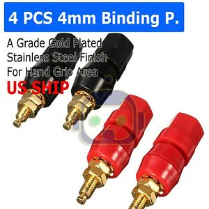 4X-Gold-Plated-Audio-Speaker-Terminal-4mm-Binding-Post-Banana-Jack-Plug-B122