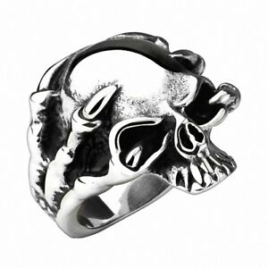 Biker-Rocker-Herren-Ring-Drachen-Klaue-Totenkopf-Edelstahl-Silber-IP-Massiv