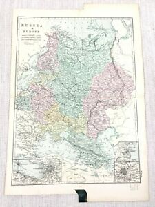 1892 Antik Map Of Russland IN Europa Russisch Reich Alte 19th Jahrhundert G W