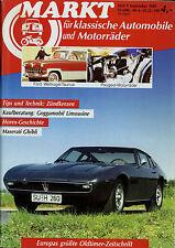 Markt 9/89 1989 Maserati Ghibli BMW 1500 Horex Peugeot 356 Ford 12 15M Brennabor