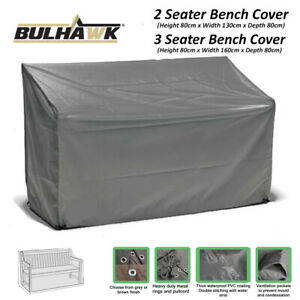 Bench Seat Cushions 3 Seater Pad Garden 145cm Outdoor Furniture Waterproof Grey