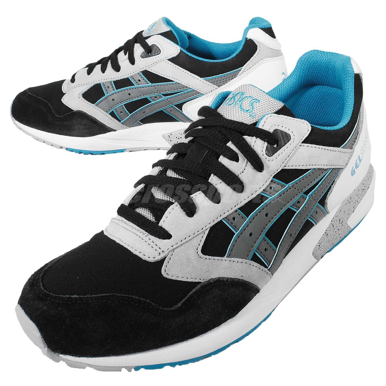 Asics Tiger Gel Saga Black Grey Blue Mens Running Shoes  H648L-9011 US SIZE 9