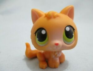 Littlest Pet Shop Cat Kitten Small Orange 86 Green Eyes Authentic LPS