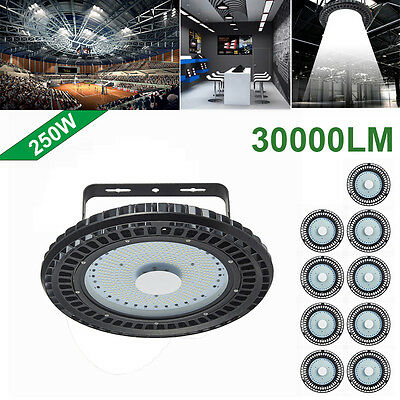 10X 250W UFO LED High Bay Light Industrial lamp Factory Warehouse Shed Lighting