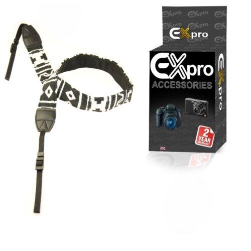 "Ex-Pro® Vintage Binocular Neck Shoulder Strap 29/"" 45/"" Zag Black /& White"