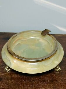 Vintage 60's Onyx Round Footed Marble Cigarette Ashtray Italy Green Yellow