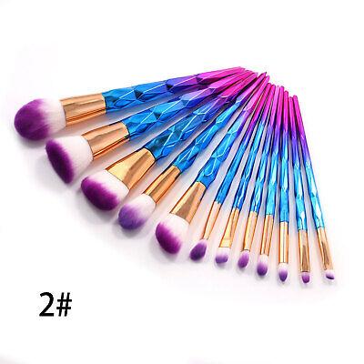 12pc pro mermaid glitter makeup brushes set powder