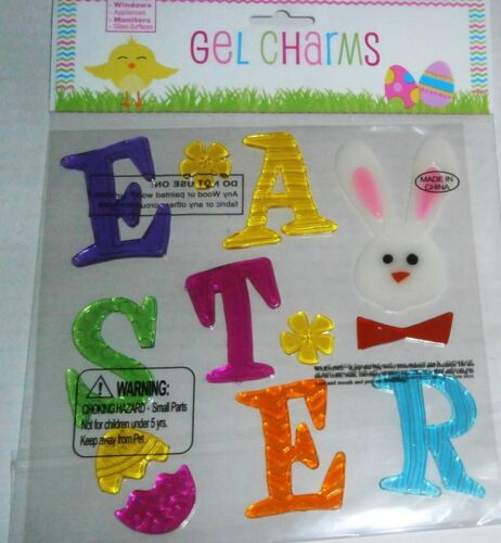 Easter  Window  Gel  EASTER Spelled out with Colorful Letters  w// Bunny Face