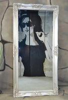 Wandspiegel Spiegel barock antik Landhaus mit Facette Badspiegel 140 x 50 cm