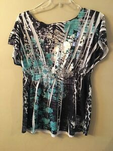 EUC-Style-amp-co-blue-white-silver-gathered-waist-blouse-size-large