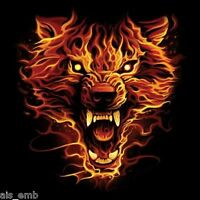 Flaming Wolf Heat Press Transfer For T Shirt Sweatshirt Tote Quilt Fabric 222o