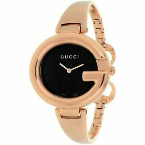 4251e7bc5bc Gucci 134 Guccissima Ladies Black Dial Rose Gold Bangle Quartz Watch ...