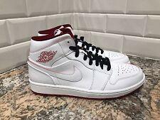 Nike Air Jordan 1 Mid Retro White Gym Red Black Chicago Bulls SZ 9 554724-103
