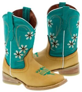 1688d5cf373 Details about Kids Girls Yellow Blue Leather Cowboy Boots Western Wear  Floral Rodeo Toe