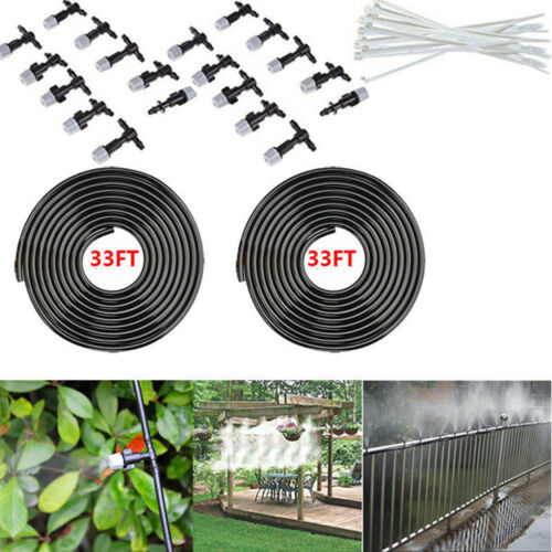 20M 1//4/'/' Hose 20pc Mist Nozzle Sprinkler Outdoor Garden Mist Cool System Kit TK