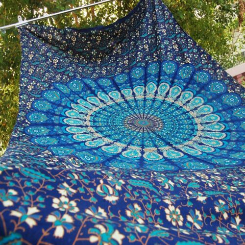 Decor Blue Queen Size Indian New Peacock Mandala Tapestry Bed Sheet Wall Hanging
