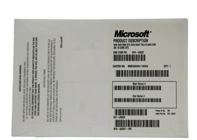 Microsoft Windows Server Standard 2016 64 Bit 16 Core No Disk (6FA-00297-1PK)