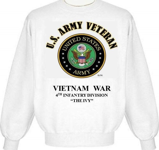 VIETNAM WAR  4TH INFANTRY DIVISION  THE IVY ARMY EMBLEM SWEATSHIRT