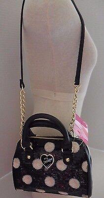 Betsey Johnson Handbag Purse Bag Crossbody XBody Black/White Oh Bow Sequin Dots