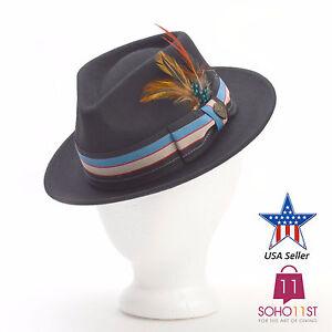 Men Women Premium 100% Wool Felt Dress Fedora Hat – Black Brown Gray ... 92ff86e72a6c