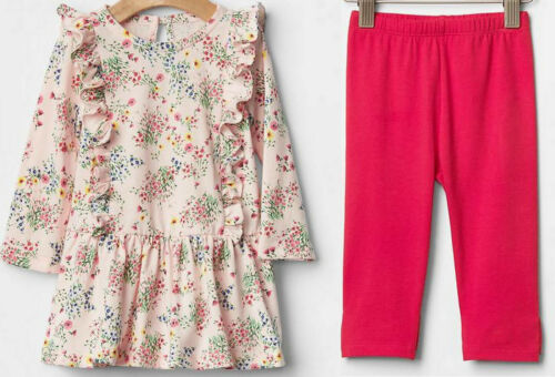 GAP Girl Jersey Floral Ruffle Multicolor Dress Leggings Pink Bow Cotton 18-24