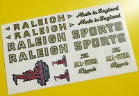 Raleigh 1950's Vintage style set Cycle Bike Stickers decals SPORTS TOURIST etc.