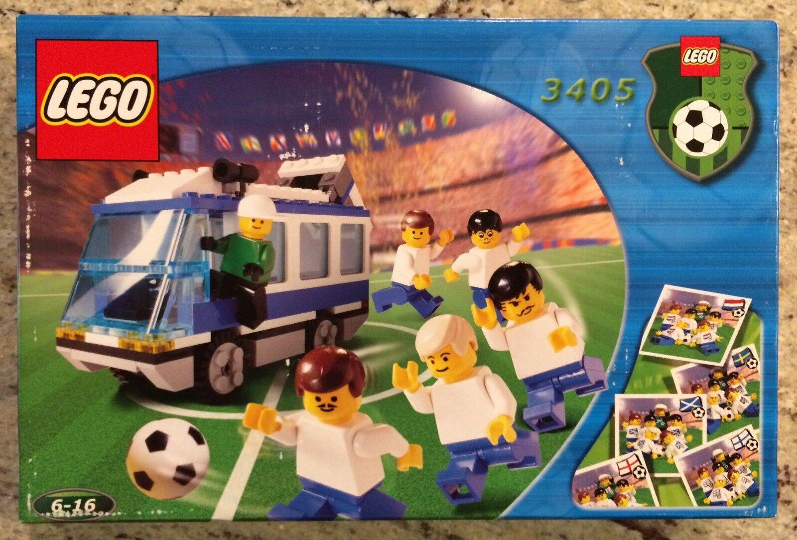 LEGO 3405 Sports Americas Team bluee Bus, Soccer Team, New In Sealed Box