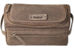 Woodland-Moderno-pelle-Washbag-da-Naturale-pelle-in-Marrone-Scuro