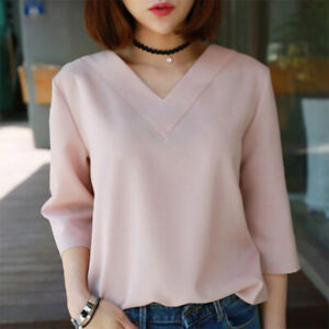 Plus Size Korean Women V Neck Loose Blouse Summer Stripe Casual Shirt Top BlouBB