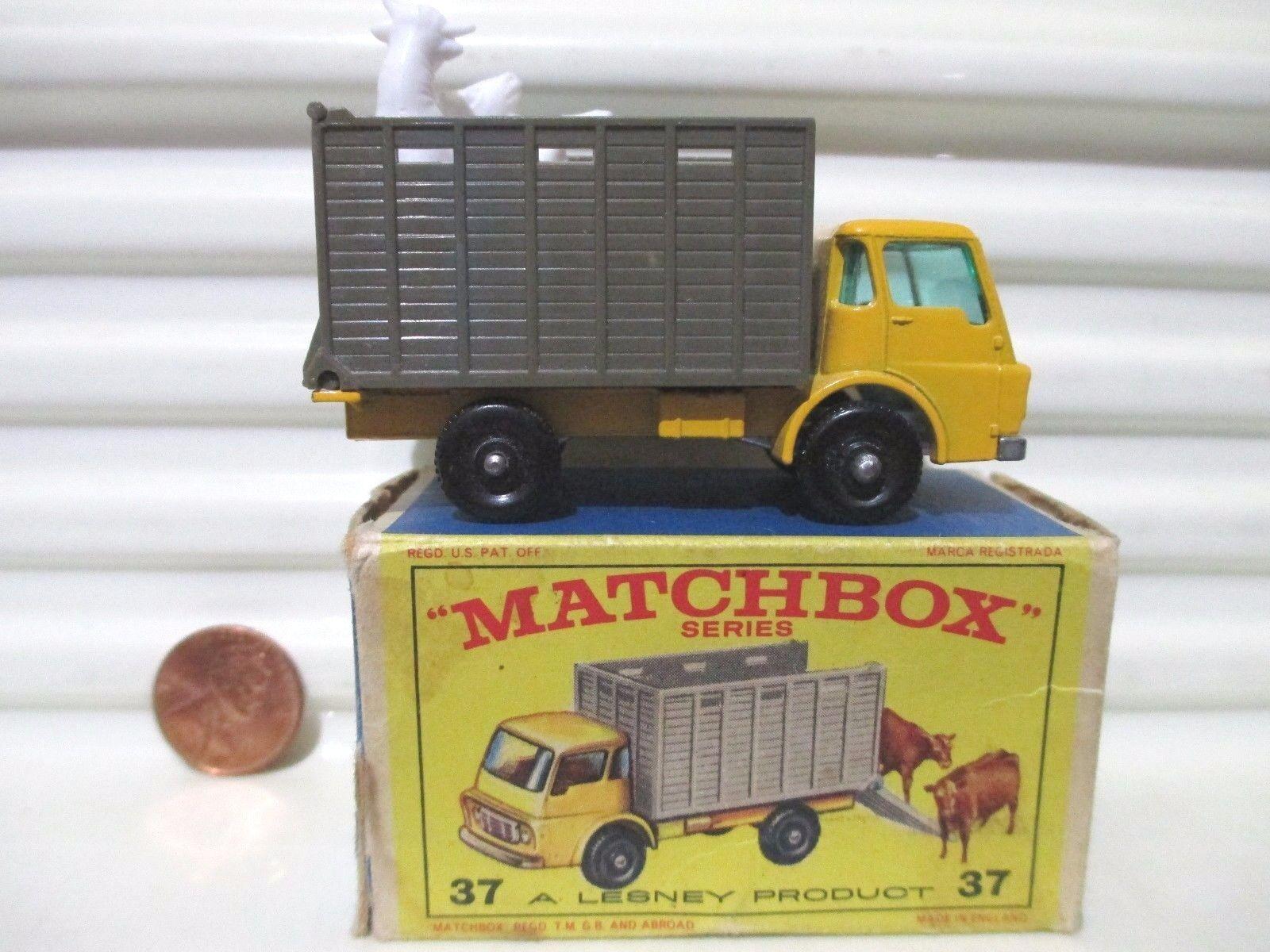 Lesney Matchbox 1966 RW37C Dodge Cattle camión caja Marronee Menta en buena imagen Bx